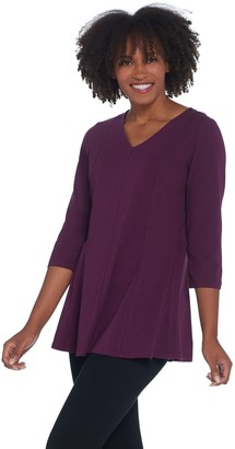 Denim & Co. Jersey 3/4 Sleeve V-neck Tunic Fit and Flare Top