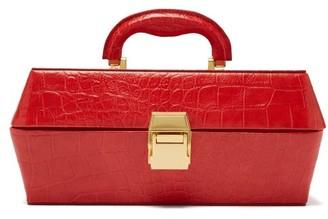STAUD Lincoln Crocodile Effect Leather Box Bag - Womens - Red