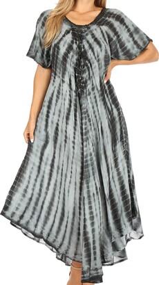 Sakkas 60SE Melika Tie Dye Caftan Dress - Purple - One Size