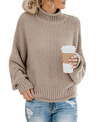 MINTLIMIT Sweaters Women's Chunky Turtleneck Casual Knitted Jumper Pullover Long Sleeve Tops Ladies (Khaki Small)