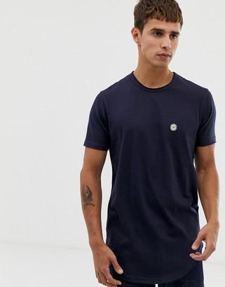 Le Breve raw edge longline t-shirt-Navy