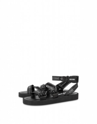 Moschino Logo Tape Sandals Man Black Size 39 It - (6 Us)