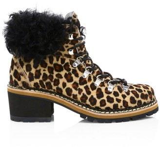 Montelliana 1965 Ninfea Shearling-Trimmed Leopard-Print Calf Hair Combat Boots