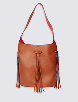 M&S Collection Faux Leather Tassel Bucket Shoulder Bag