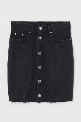 H&M Button-front Denim Skirt - Black