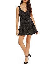 B. Darlin Glitter Lace V-Neck Skater Dress