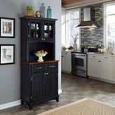 Home Styles Two-Drawer 31.25 in. W Black Buffet with Cherry Wood Top and Hutch