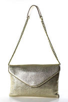 J.Crew J Crew Gold Metallic Pebbled Leather Envelope Clutch Chainlink Shoulder Handbag