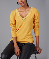 Bloggers Boutique Women's Pullover Sweaters MUSTARD - Mustard Lace-Trim V-Neck Top - Women