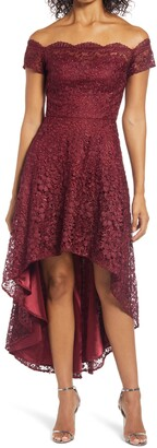 Chi Chi London Penna Crochet Off the Shoulder High/Low Dress