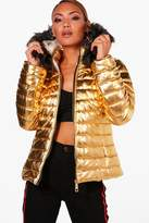 boohoo Sophie Metallic Padded Jacket