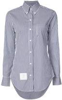 Thom Browne Classic Long Sleeve Button Down Point Collar Shirt With Red, White And Blue Grosgrain Placket In Hairline Stripe Poplin