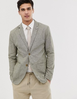 Esprit linen look unlined blazer in green