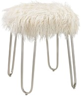 The Well Appointed House Silver Frame Stool with White Faux Fur Upholstery-ON BACKORDER UNTIL JULY 2016