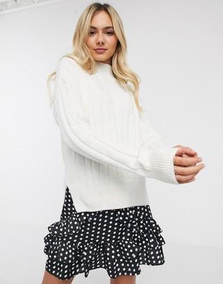 New Look wide rib side split jumper in off white