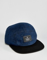 Asos 5 Panel Cap In Navy Tweed
