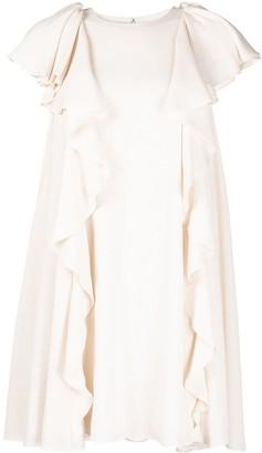 Alexander McQueen Short-Sleeve Pleated Babydoll Dress