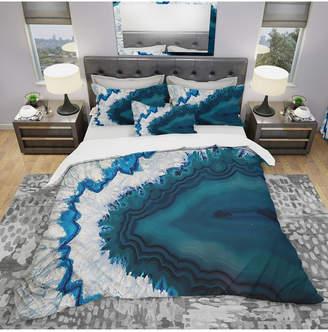 Designart 'Blue Brazilian Geode' Modern and Contemporary Duvet Cover Set - Queen Bedding