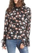 BP Women's Floral Print Tie Sleeve Top