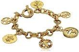 "Symbols of Faith 14k Gold-Dipped Toggle Crosses and Fleur di Lis Medallion Link Charm Bracelet, 7"""