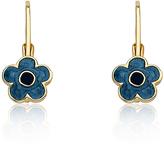 Denim & Gold Flower Lever-Back Earrings