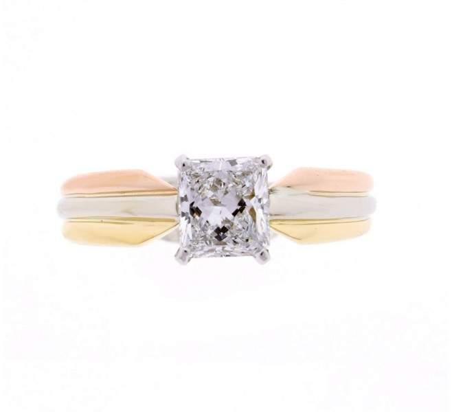 Cartier Multicolor Gold Diamond Ring Size 6