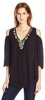 NY Collection Women's Solid 3/4 Sleeve Cold Shoulder Top with Beaded Neck Top