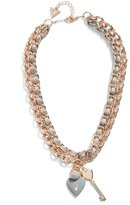 GUESS Women's Rose Gold-Tone Woven Charm Necklace