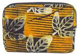 Batik Cotton14 Inch Tablet Sleeve in Saffron from Ghana, 'Leafy Protector'