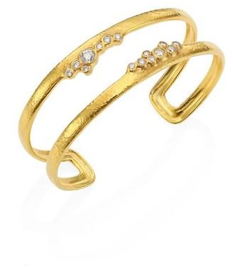 Gurhan Pointelle Diamond & 22K Yellow Gold Open Cuff