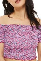 Topshop Bardot Floral Shirred Top