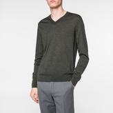 Paul Smith Men's Dark Green Merino-Wool V-Neck Sweater