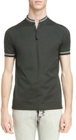 Lanvin Men's Stripe Stand Collar Polo