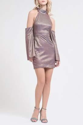 J.o.a. Sparkle Cold Shoulder Dress