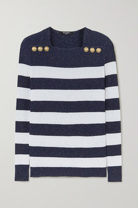 Balmain Button-embellished Metallic Striped Ribbed-knit Sweater - White