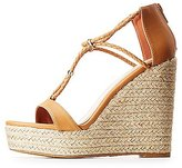 Charlotte Russe Gold-Trim Braided Espadrille Wedge Sandals