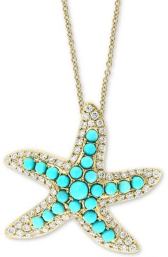 "Effy Turquoise & Diamond (5/8 ct. t.w.) Starfish 18"" Pendant Necklace in 14k Gold"