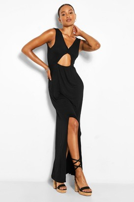 boohoo Tall Twist Front Maxi Split Leg Jersey Dress