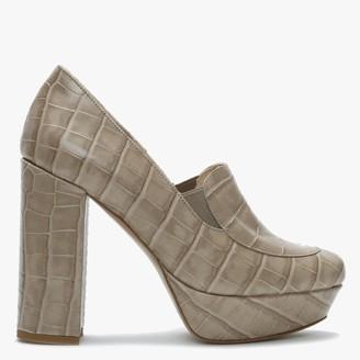 Daniel Ajuppiter Beige Leather Reptile Platform Court Shoes