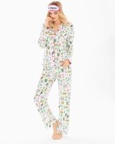 Soma Intimates Playful Prints Long Sleeve Cotton Blend Pajama Set with Eye Mask