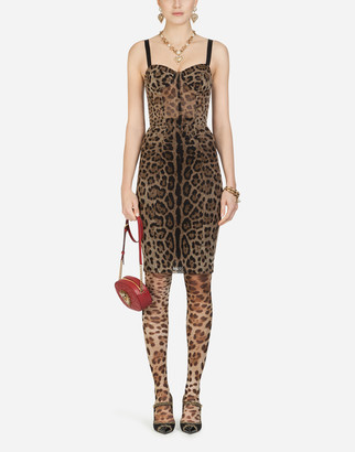 Dolce & Gabbana Tulle Midi Bustier Dress With Leopard Print