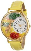 Whimsical Watches Giraffe Yellow Leather and Goldtone Unisex Quartz Watch with White Dial Analogue Display and Multicolour Leather Strap G-0150007