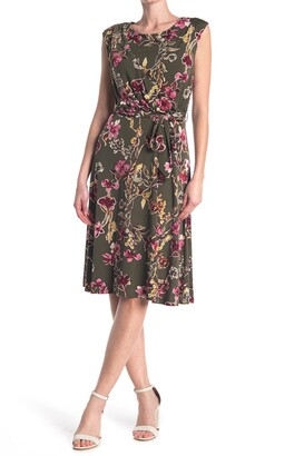 Sandra Darren Cap Sleeve Floral Dress