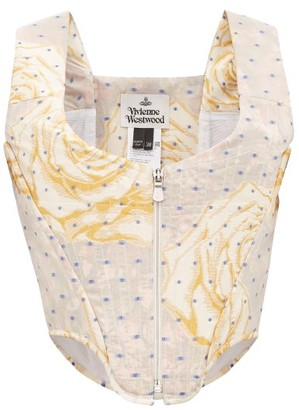 Vivienne Westwood Floral And Polka-dot Jacquard Corset Top - Womens - Silver Multi