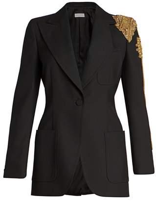 Dries Van Noten Embellished Shoulder Wool-Blend Blazer