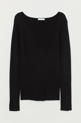 H&M Ribbed Top - Black