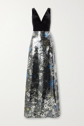 Monique Lhuillier Floral-print Sequined Tulle And Velvet Gown - Black