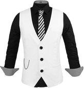 Hasuit Men's Top Designed Casual Slim V-neck Dress Vest Waistcoat