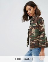 Noisy May Petite Camo Jacket With Fluted Sleeves