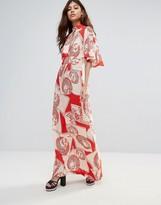 Liquorish Maxi Dress With Kimono Sleeves in Vintage Print